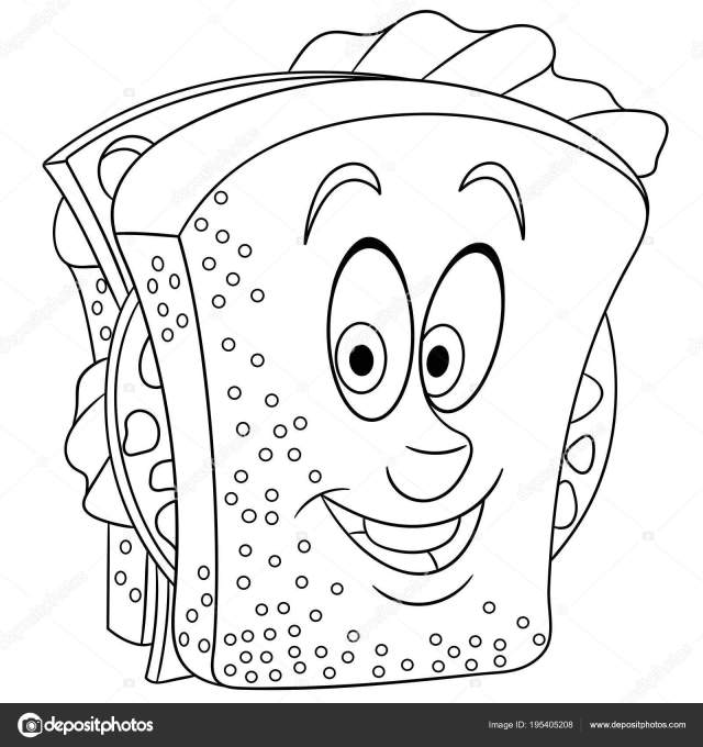 Coloring Book Coloring Page Colouring Picture Sandwich Stock