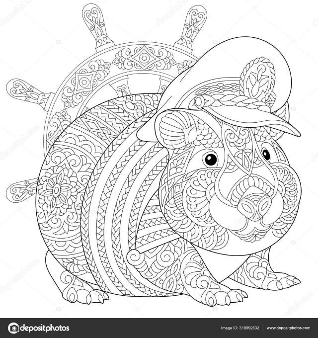 Coloring page with guinea pig Stock Vector Image by ©Sybirko