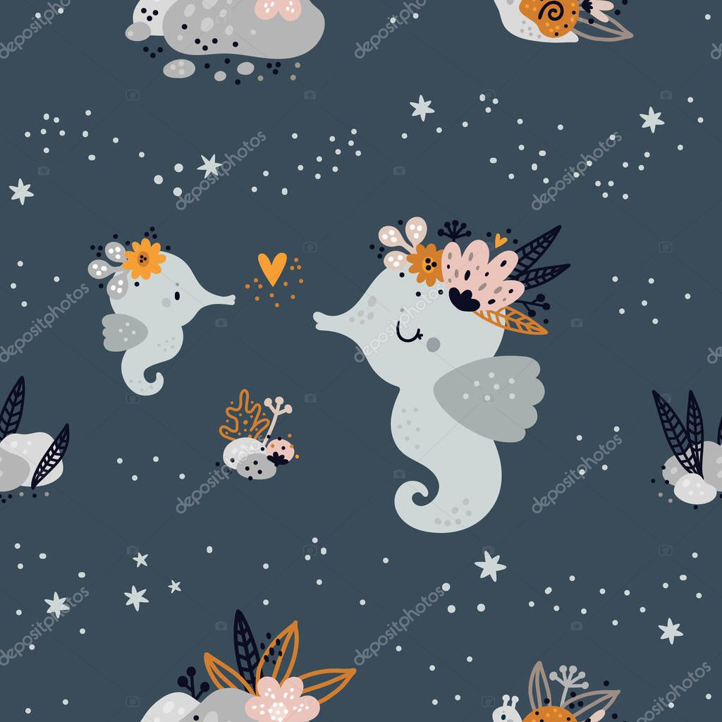 Seamless Childish Pattern With Cute Baby Sea Or Ocean Animals Children Background Creative Kids Texture For Print Digital Paper Textile Wallpaper Fabric Room Decor Wrapping Paper Pattern Premium Vector In Adobe Illustrator