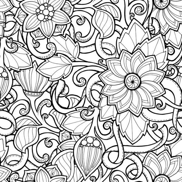 Naadloze achtergrond in vector met doodles bloemen en