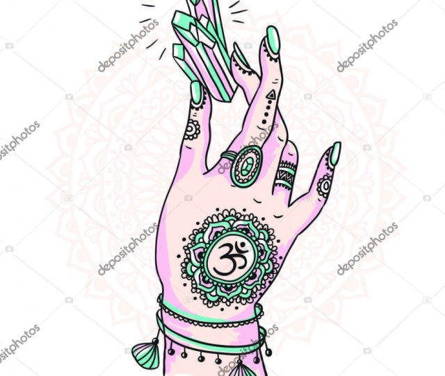 Woman Hand Is Holding Magic Crystal Stock Vector