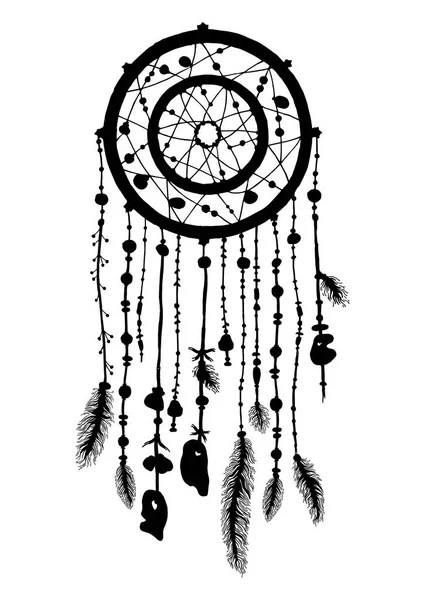 Dream catcher silhouette with feathers and beads — Stock
