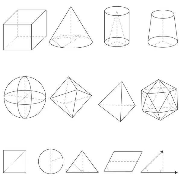 Geometry. Cube, Pyramid, Cone, Cylinder, Sphere — Stock