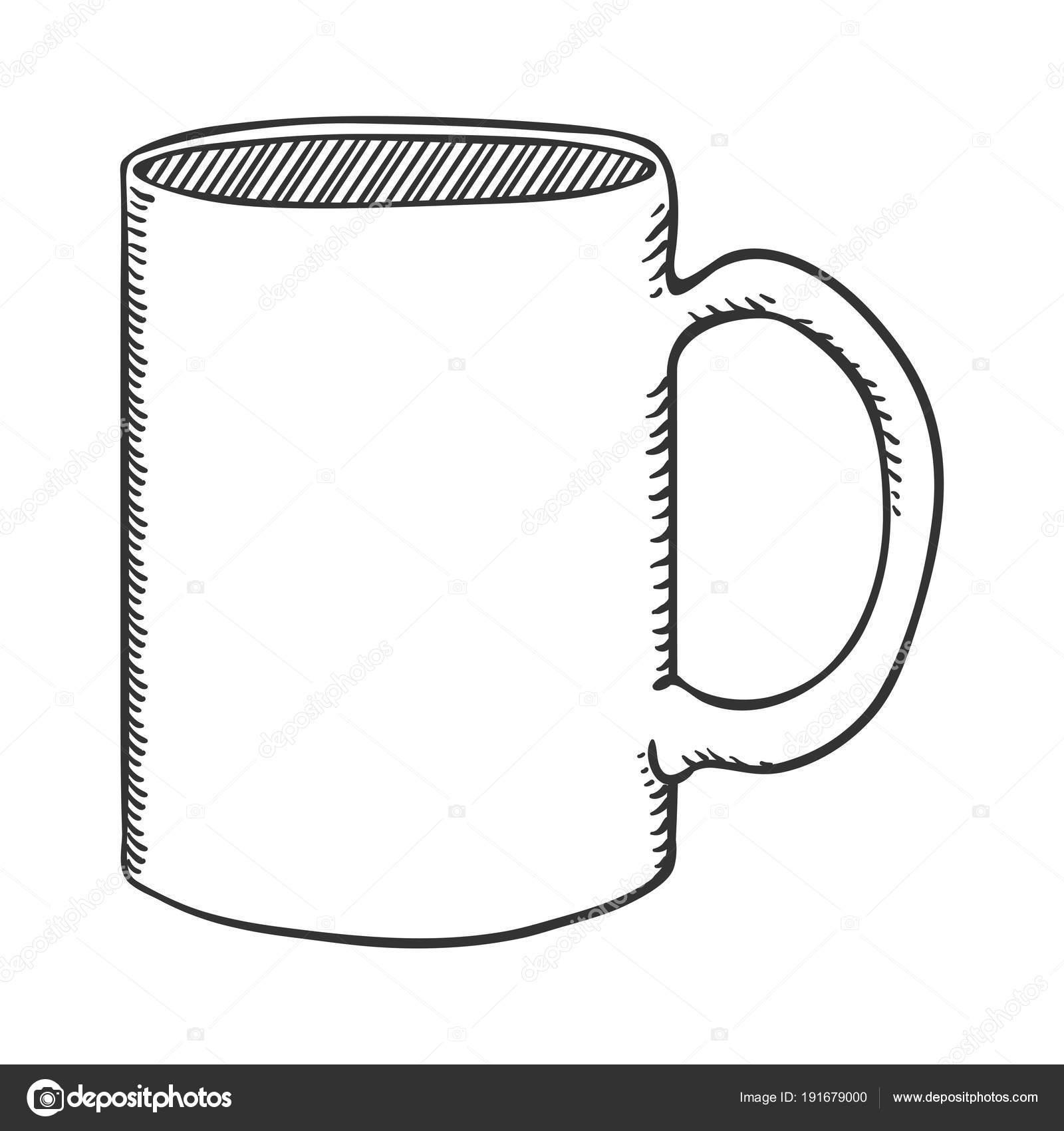 Vector Outline Sketch Illustration Classic Tea Mug — Stock