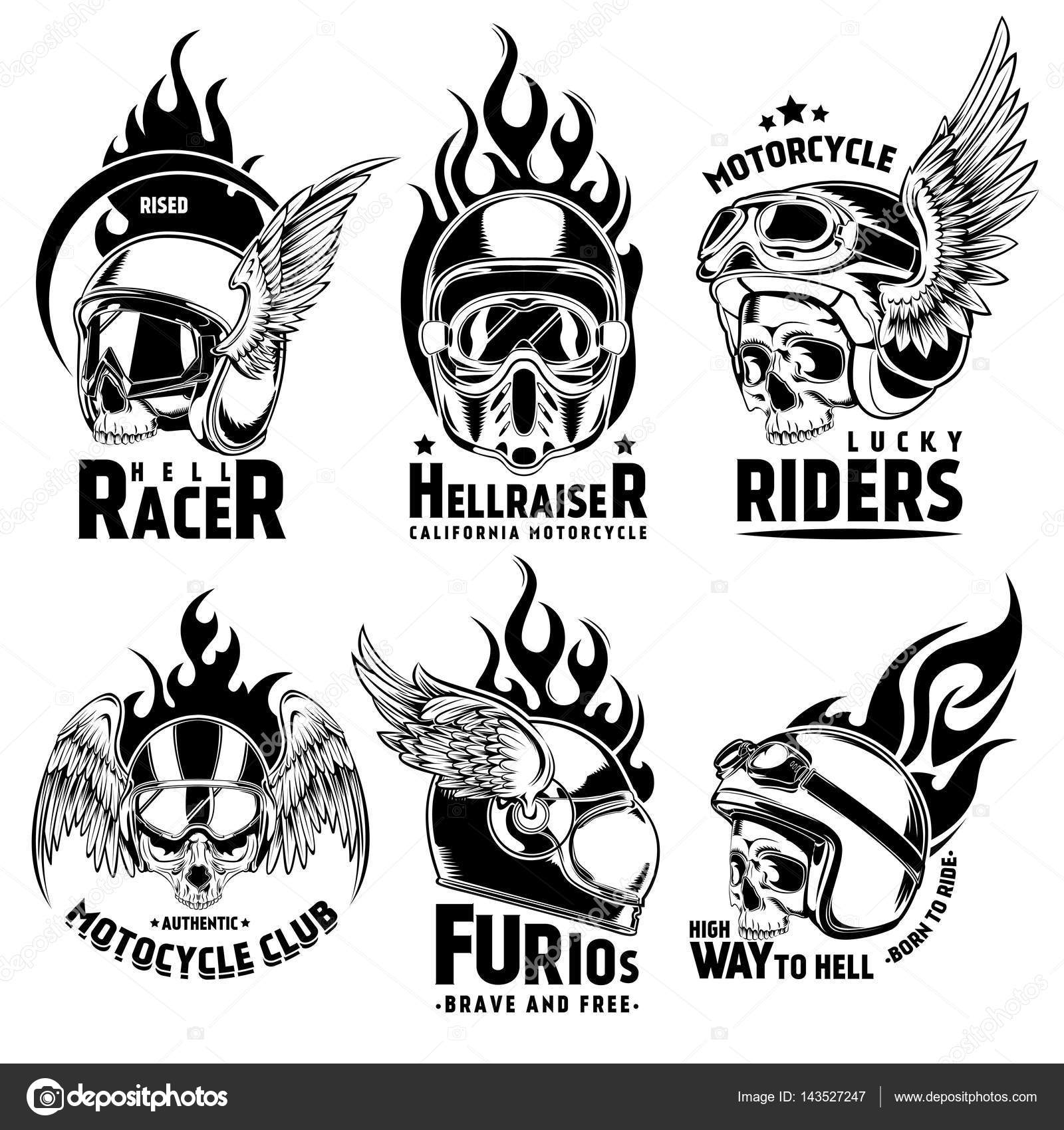 Fiery Motorcycle Skull Helmet Logos Set — Stock Vector
