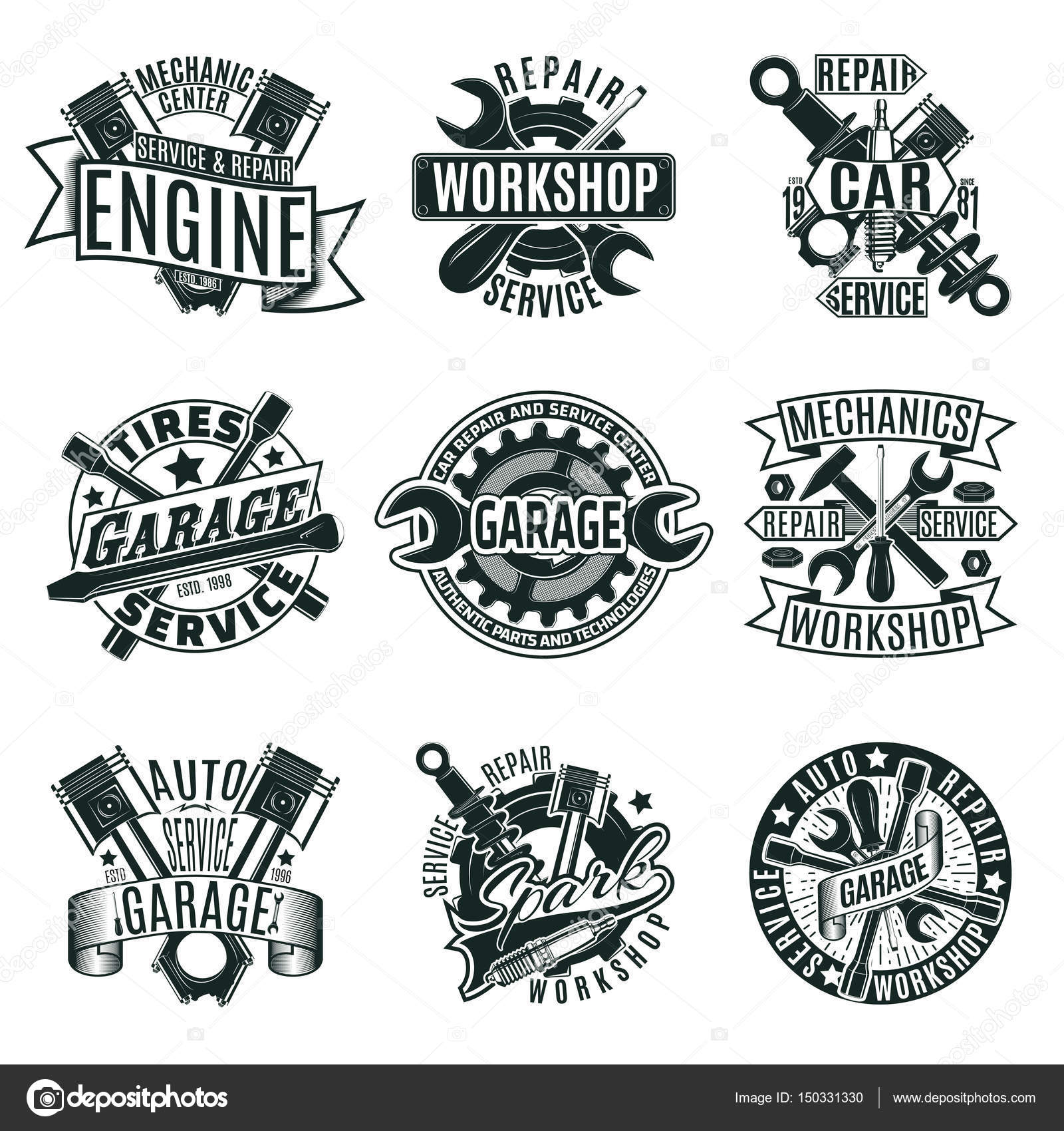 Monochrome Car Repair Service Logos Set — Stock Vector
