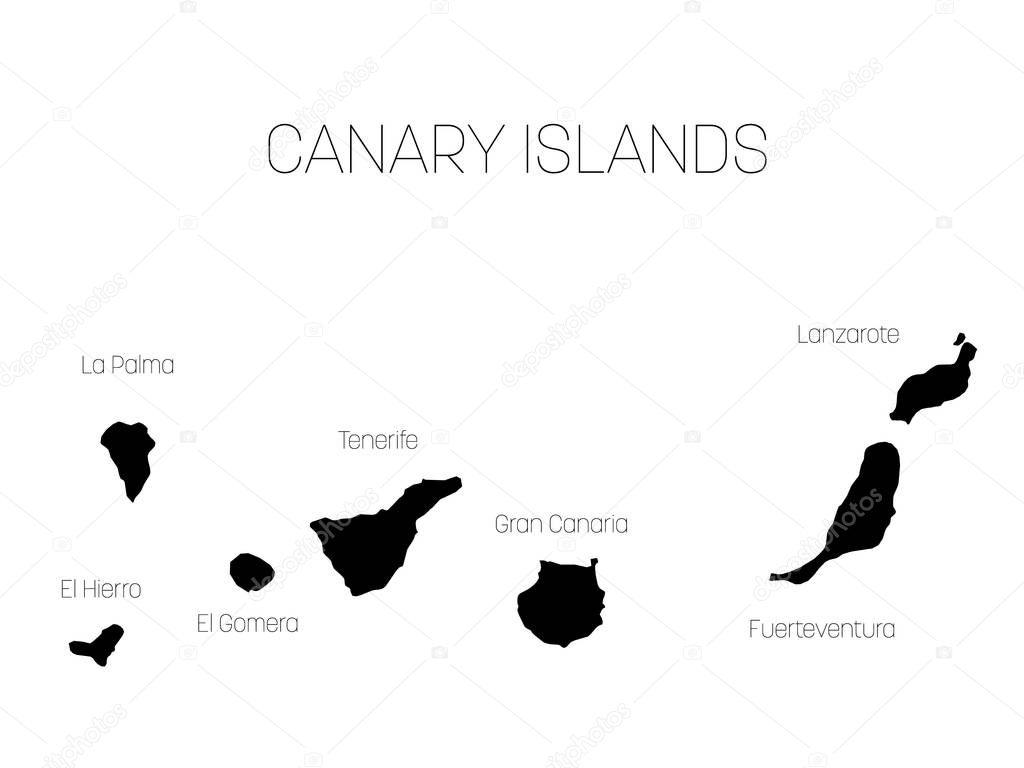 Mapa das Ilhas Canárias, Espanha, com rótulos de cada ilha