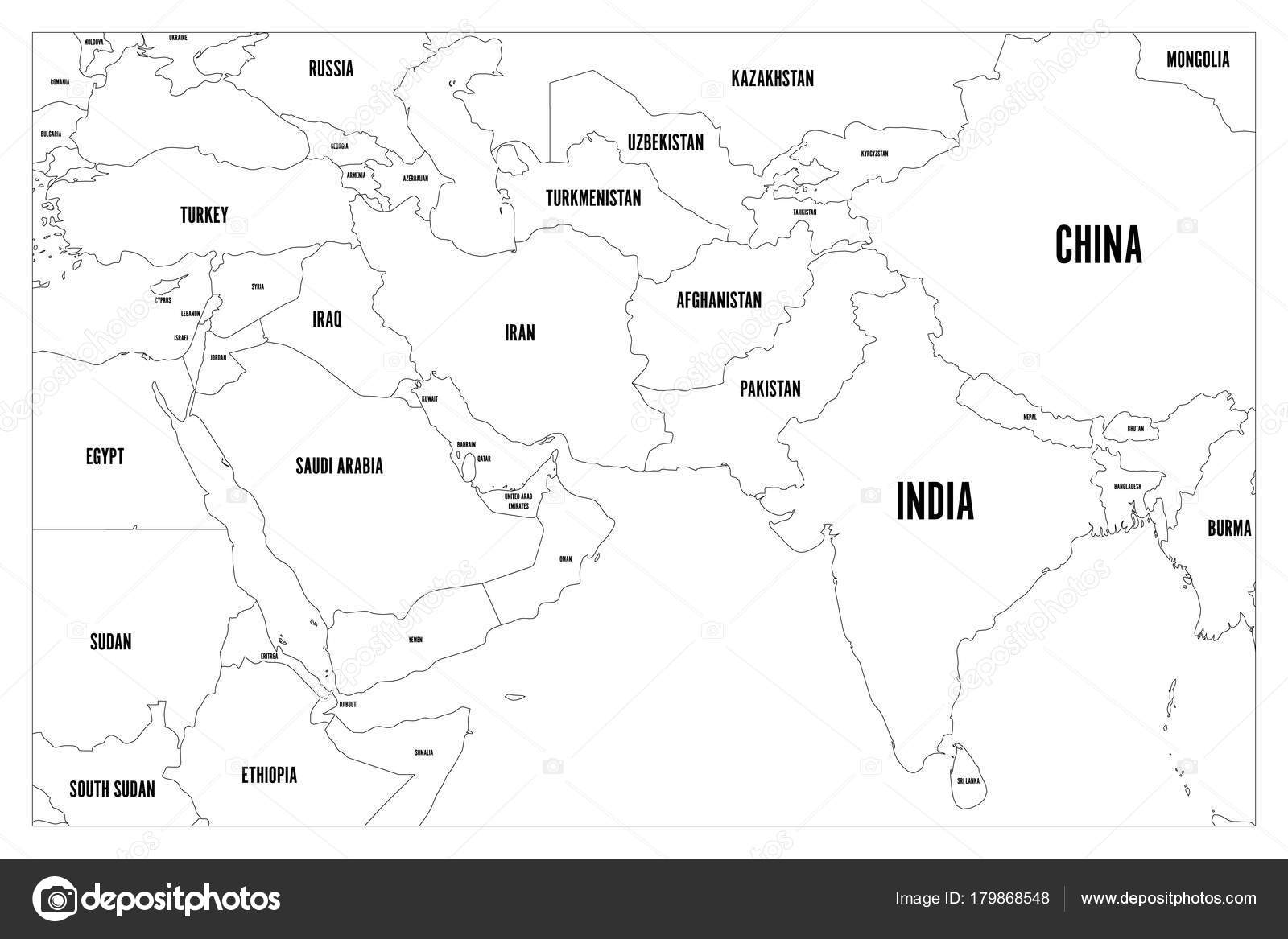 Political Map Of South Asia And Middle East Countries