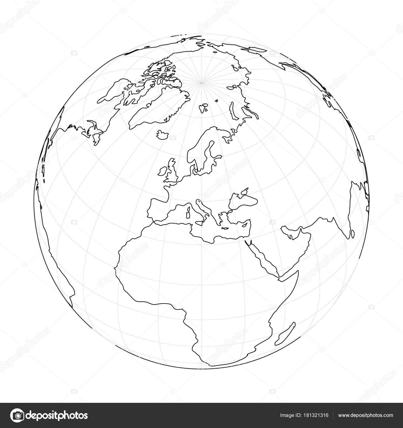 Filaire De Globe Terrestre Axe Sur L Europe Illustration