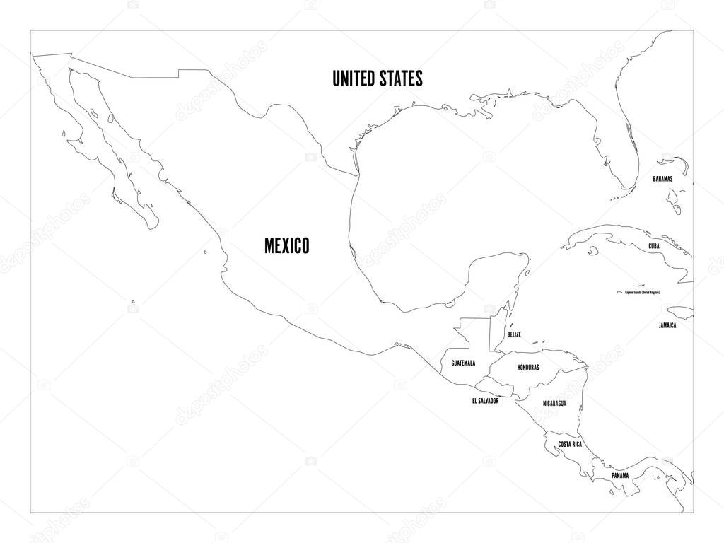 Political Map Of Central America And Mexico In Four Shades