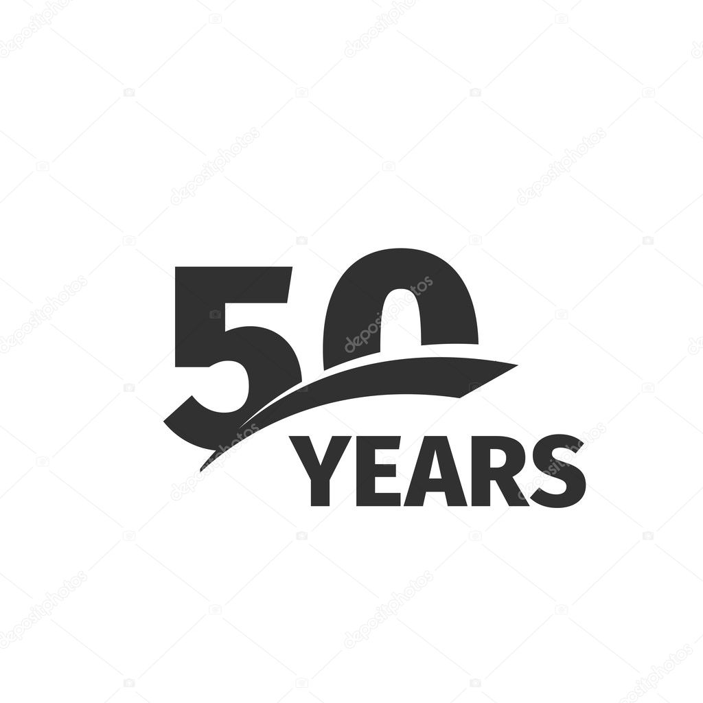 Isolated Abstract Black 50th Anniversary Logo On White