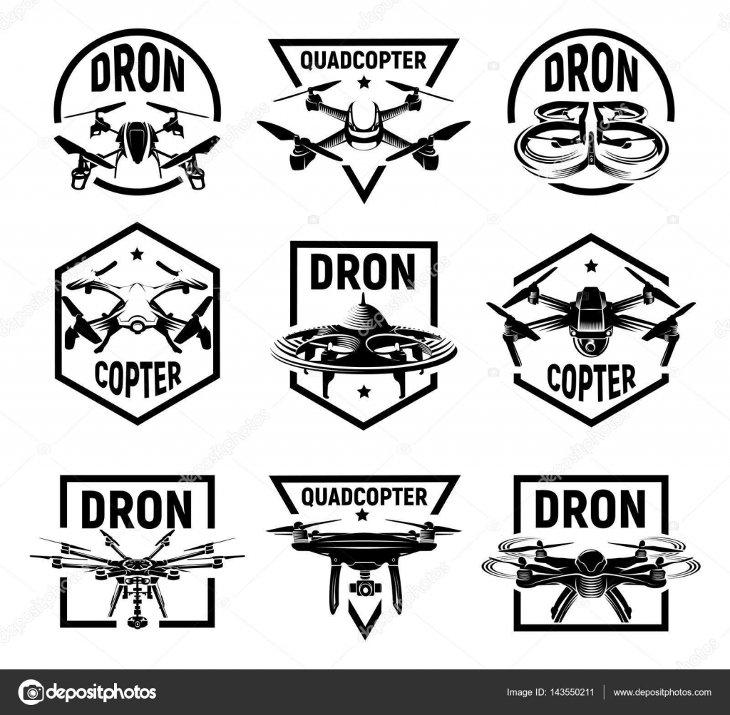 Isolated Monochrome Quadcopter Icons In Frames Rc Drone