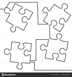 continuous one line drawing of four pieces of jigsaw on white background vector illustration black thin line of puzzle icon vector by tiverets [ 1600 x 1700 Pixel ]