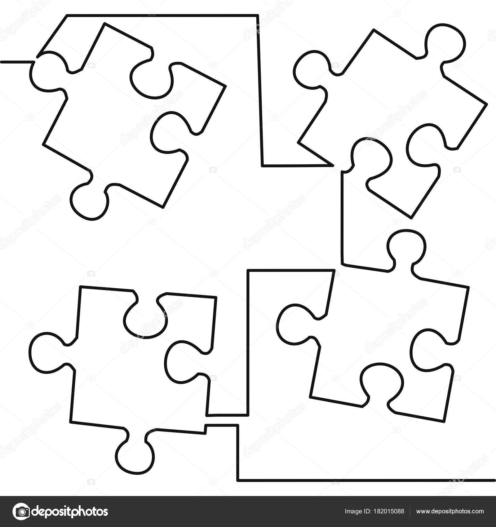 hight resolution of continuous one line drawing of four pieces of jigsaw on white background vector illustration black thin line of puzzle icon vector by tiverets