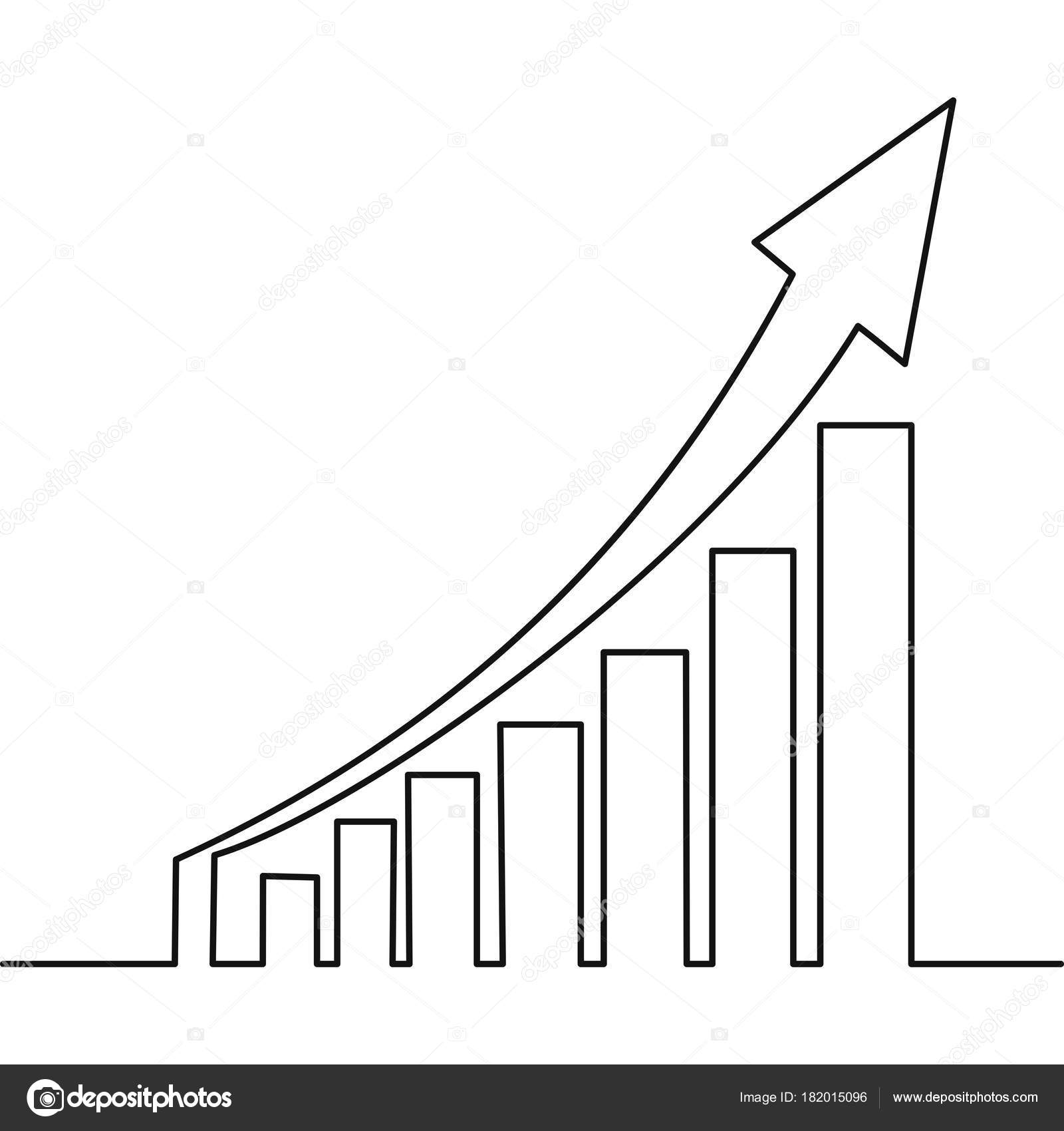 hight resolution of one continuous line drawing of graph icon isolated stock vector
