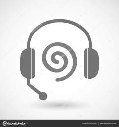 isolated hands free headphones with a spiral stock vector [ 1600 x 1700 Pixel ]