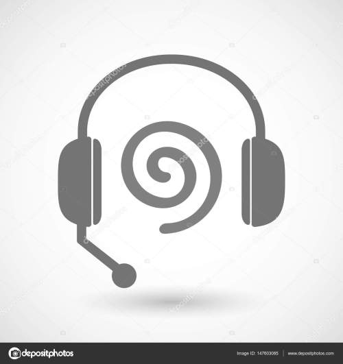 small resolution of isolated hands free headphones with a spiral stock vector