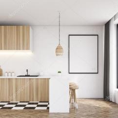 Modern Kitchen Light Cabinets Design Ideas 现代厨房与木艺灯 图库照片 C Denisismagilov 128581302