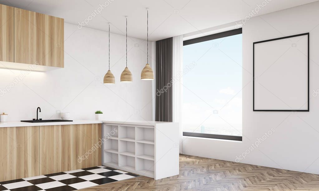 modern kitchen light small round table 侧的现代厨房 木艺灯的视角看 图库照片 c denisismagilov 130310358
