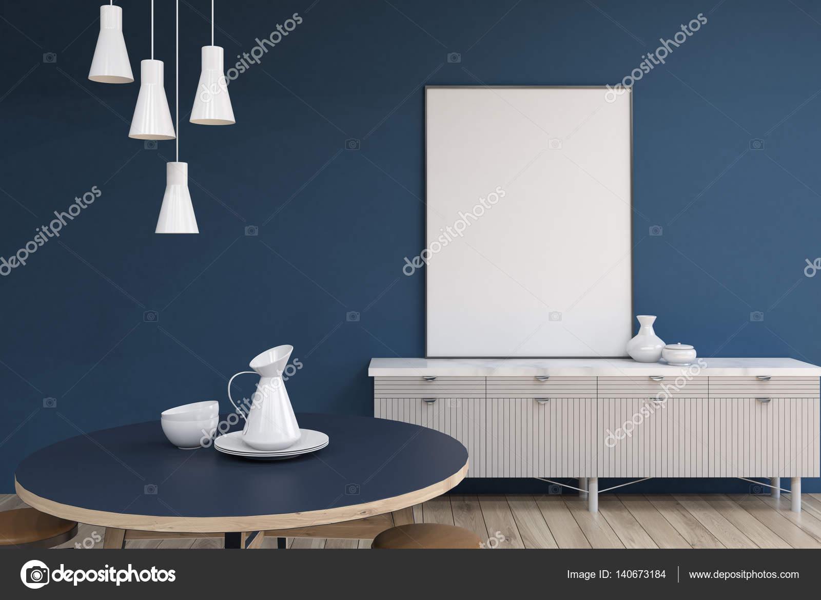 Woonkamer met blauwe muren poster  Stockfoto
