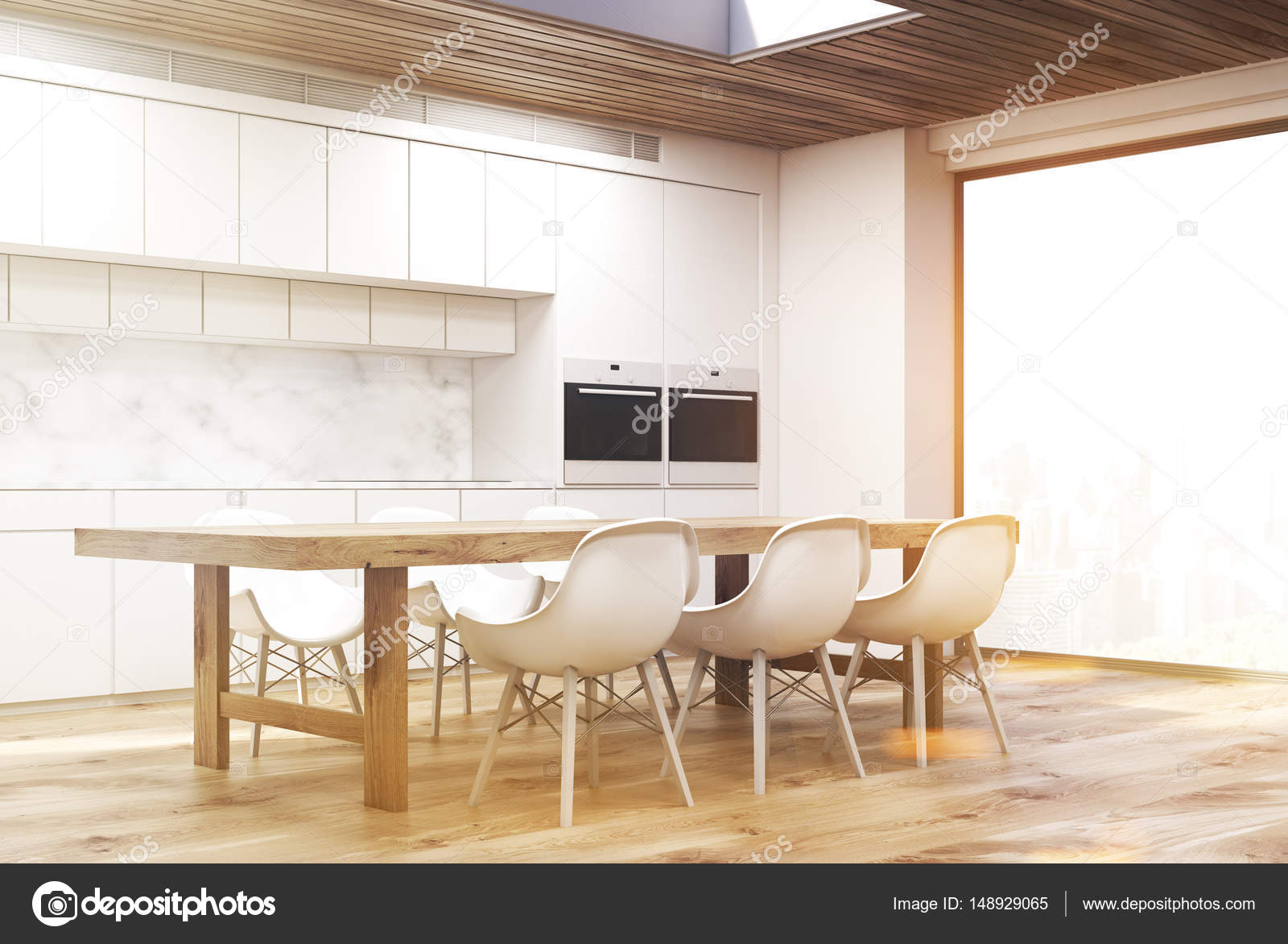 long kitchen tables and bath design 大理石厨房用长长的桌子边 定了调子 图库照片 c denisismagilov 148929065