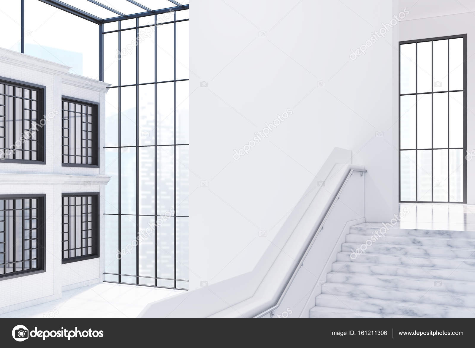 Empty White Office Hall Staircase Side View — Stock Photo   Staircase Side Window Designs   Outside Window Frame   Architecture   Small Space   Two Story   Landing