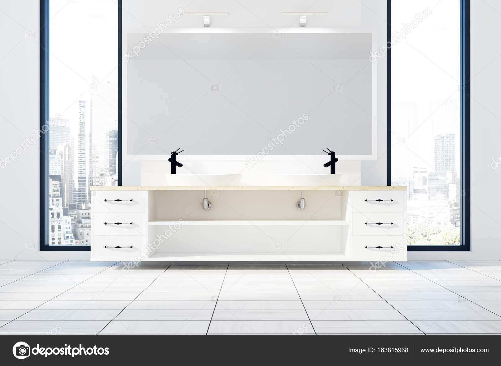 Lavabos Estrechos White Bathroom Interior Double Sink Stock Photo