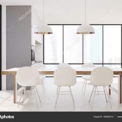 Long Kitchen Tables Granite Countertop 一张长桌子的白色厨房 图库照片 C Denisismagilov 166462412