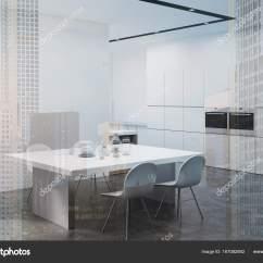Built In Kitchen Table Hotels Houston With Kitchens 白色的厨房的桌子 双角 图库照片 C Denisismagilov 167082892