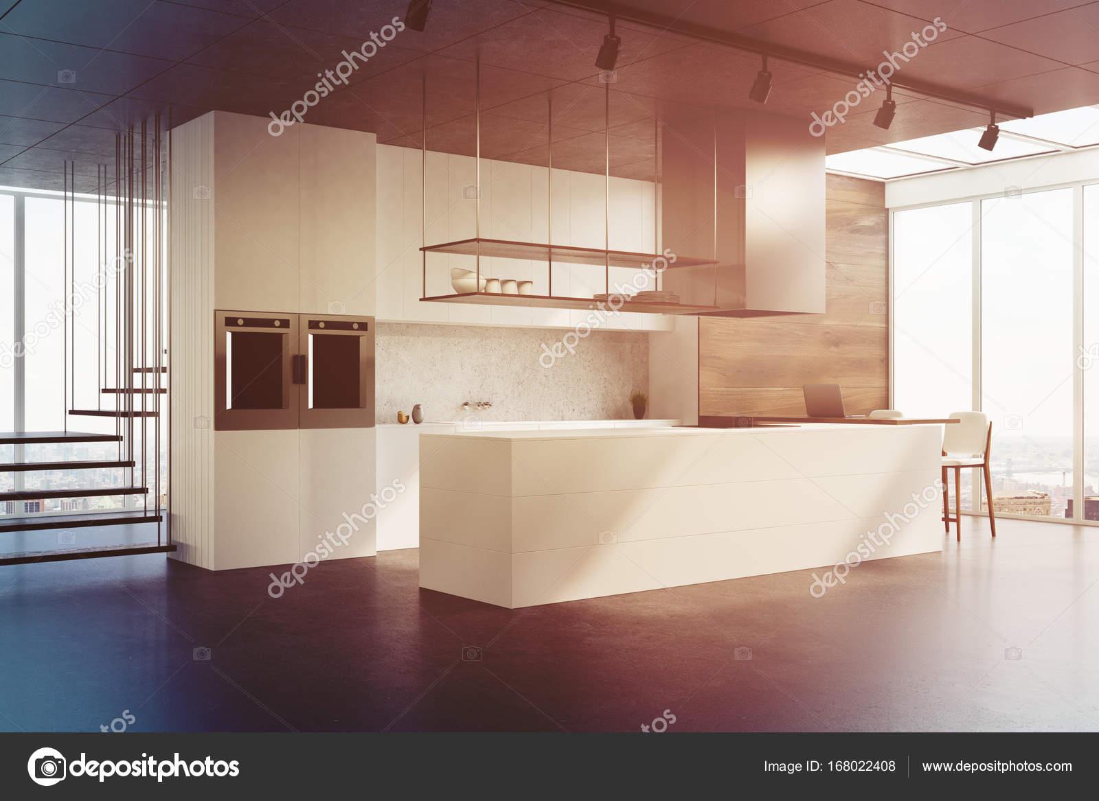 white kitchen backsplash decorative track lighting 白色的厨房柜台 侧面看定了调子 图库照片 c denisismagilov 168022408 一个白色的计数器 混凝土的后挡板 未来派的楼梯和混凝土地板的白色和木制厨房内部 侧面图 3d 渲染模拟了色调图像 照片作者denisismagilov