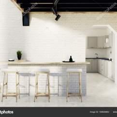 Kitchen Bar Stool Desk Ideas 砖厨房吧台 凳 一扇门 图库照片 C Denisismagilov 168026600