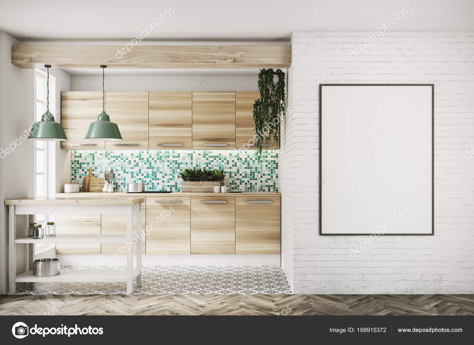 kitchen console table metal canisters 绿色马赛克厨房 木控制台 海报 图库照片 c denisismagilov 168915372 高档厨房内部与绿色和白色拼接墙 大窗户 有趣的地板图案和木制控制台和表 装裱的海报 3d 渲染小样 照片作者denisismagilov