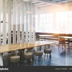 Tall Table And Chairs For Kitchen Cabinet Knobs Pulls 双阁楼咖啡厅室内角落 木板 图库照片 C Denisismagilov 169704902 高大的窗户 混凝土楼板 灰色沙发 圆形和方形桌椅软白的白咖啡厅内部 板墙 3d 渲染模拟了双曝光色调图像 照片作者denisismagilov