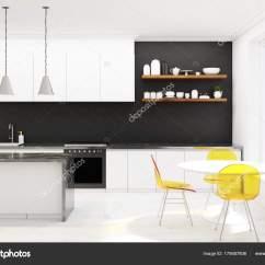Wood Kitchen Chairs In Stock Cabinets Reviews 黑木厨房 黄色椅子 混凝土 图库照片 C Denisismagilov 175687806