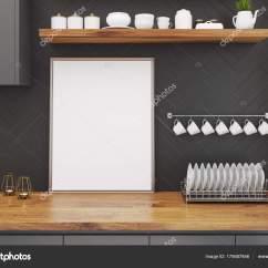 Wooden Kitchen Table Wine Racks 木制厨房桌 框式海报 图库照片 C Denisismagilov 175687846