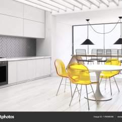 Glass Top Kitchen Table Country Sets 白色和灰色厨房和饭厅边 图库照片 C Denisismagilov 178699096 白色的厨房和一个带有灰色台面和橱柜的餐厅角落 一张长桌子 里面有金属椅和一张黄色椅子的圆桌 3d 渲染 照片作者denisismagilov