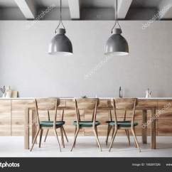 Kitchen Banquettes For Sale Delta Faucets Repair 带设计椅的木制餐桌 图库照片 C Denisismagilov 185287226 长木餐桌 绿色和木椅站在一个灰色的厨房里 3d 渲染模拟 照片作者denisismagilov