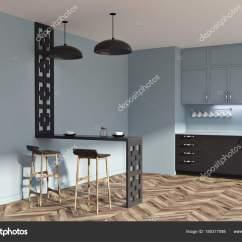 Primal Kitchen Bars Diy Cabinet Refacing 灰色和黑色原始厨房想法边 图库照片 C Denisismagilov 185317098