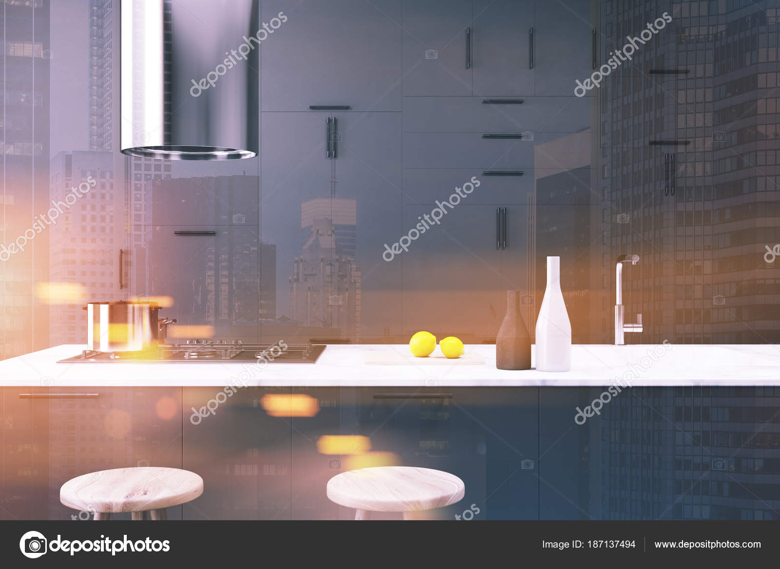 pub kitchen table corner cabinet 深灰色厨房内饰 酒吧关闭色调 图库照片 c denisismagilov 187137494