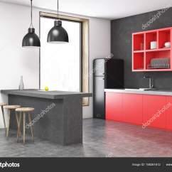 Corner Hutch Kitchen Cupboard Ideas 灰色厨房角落 图库照片 C Denisismagilov 188261612 黑色冰箱厨房角落里有一个酒吧 红色货架 凳子和一个大窗户 3d 渲染模拟 照片作者denisismagilov