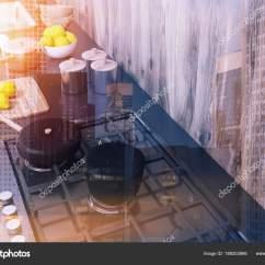 Kitchen Tops Wood Chair Pads 灰色厨房柜台 木材色调的顶部视图 图库照片 C Denisismagilov 189203866