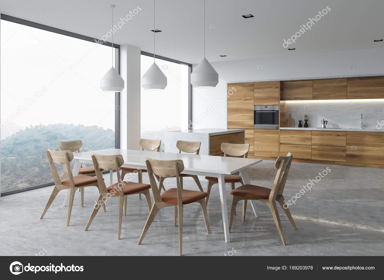 corner booth seating kitchen light oak cabinets 全景厨房角落 白色桌 图库照片 c denisismagilov 189203978 全景厨房角落与混凝土地板 木台面下的原始灯 一张有木椅的桌子 3d 渲染模拟 照片作者denisismagilov