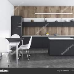 Pub Kitchen Table Makeover Companies 木制厨房 黑色柜台 酒吧 图库照片 C Denisismagilov 189204618 豪华厨房内饰木墙 混凝土地板 冰箱和黑色台面 一个酒吧 一张带白色椅子的桌子 3d 渲染模拟 照片作者denisismagilov