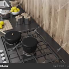 Kitchen Tops Wood Electrolux Appliances 灰色厨房柜台 木材的顶部视图 图库照片 C Denisismagilov 190103424
