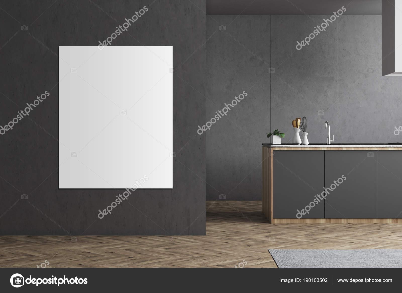 grey kitchen countertops swivel chairs 灰色厨房台面和海报 图库照片 c denisismagilov 190103502