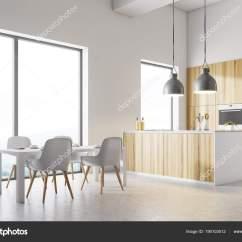 Corner Booth Seating Kitchen And Bathroom Showrooms 白色厨房角落 白色桌 图库照片 C Denisismagilov 190103512