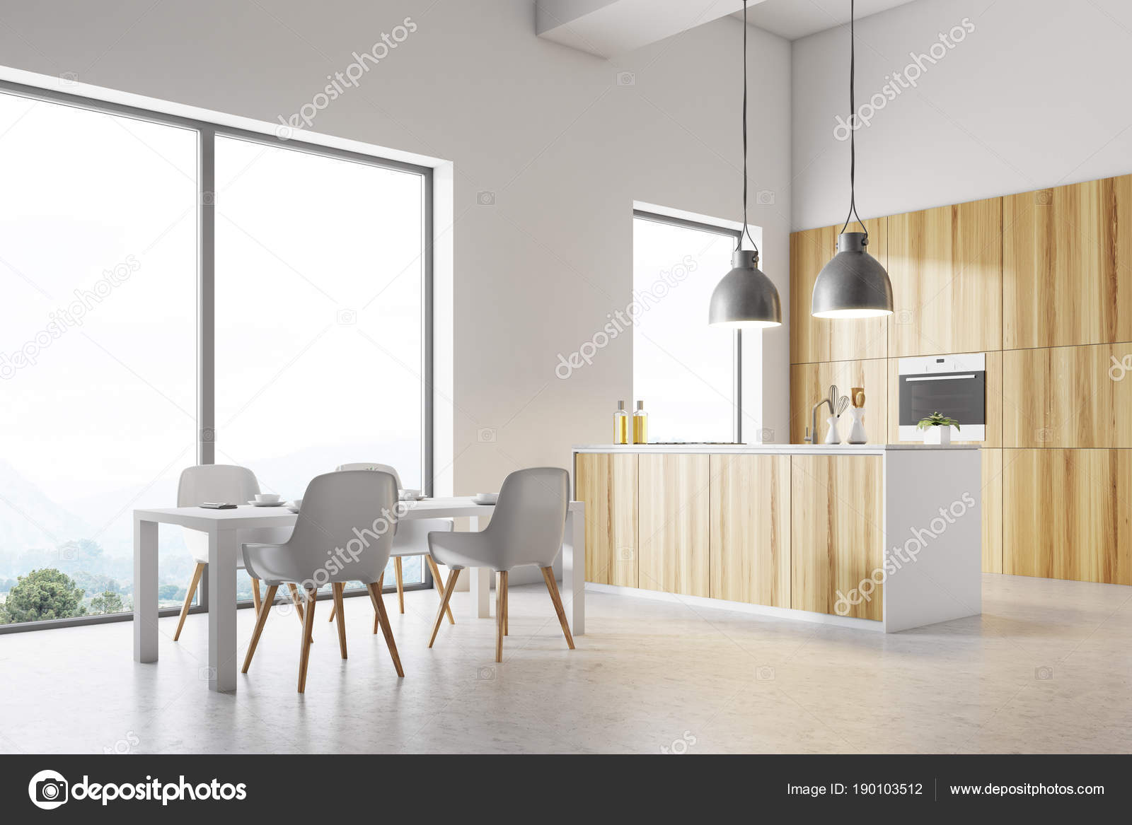 kitchen nook table set wall cabinets with glass doors 白色厨房角落 白色桌 图库照片 c denisismagilov 190103512