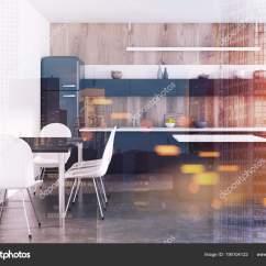 Pub Kitchen Table Modern Sets 木制厨房 黑色柜台 酒吧色调 图库照片 C Denisismagilov 190104122 豪华厨房内饰木墙 混凝土地板 冰箱和黑色台面 一个酒吧 一张带白色椅子的桌子 3d 渲染模拟色调图像双曝光 照片作者denisismagilov