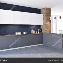 Kitchen Ceiling Lights Replacement Cabinet Doors White 侧面视图的阁楼黑色和木墙厨房内部与混凝土地板白色和灰色的台面和原始的 侧面视图的阁楼黑色和木墙厨房内部与混凝土地板 白色和灰色的台面和原始的天花板灯 3d 渲染模拟 照片作者denisismagilov