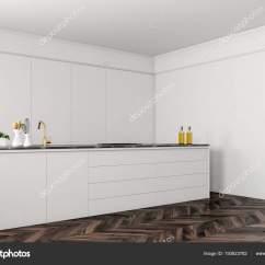 Kitchen Aid Classic Plus Flush Mount Lighting 简约白色厨房角落与一个黑暗的木地板和白色台面与修造在用具渲染模拟 简约白色厨房角落与一个黑暗的木地板和白色台面与修造在